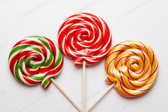 Colorful Sweet Lollipops For Children On White Background