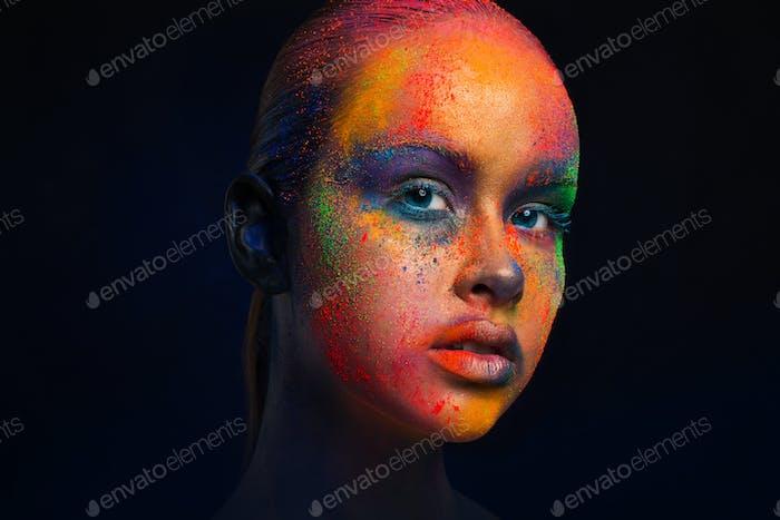 Creative art of make up, fashion model closeup portrait