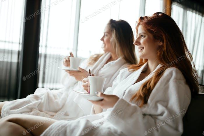 Women enjoying tea
