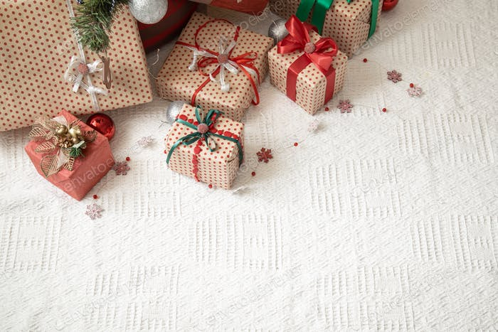 Festive cozy atmosphere, new year gift background