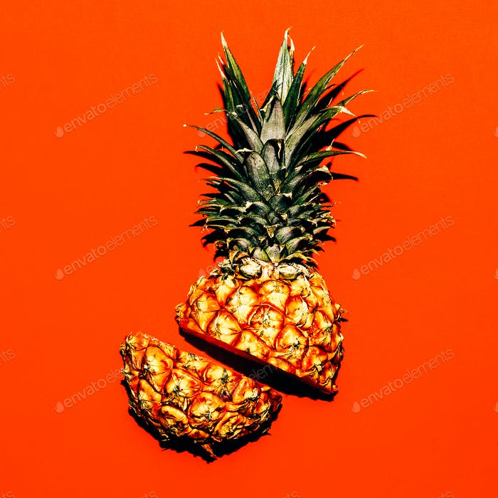 Tropical style. Half a pineapple. Fresh idea