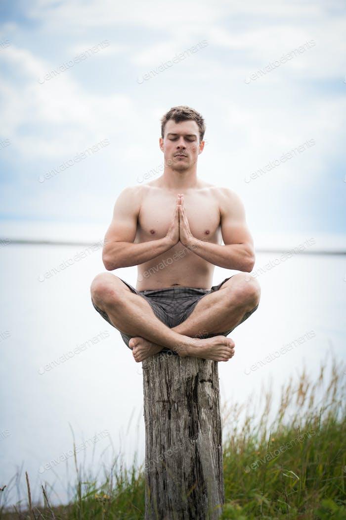 Junge Erwachsene tun Yoga auf einem Stumpf in der Natur