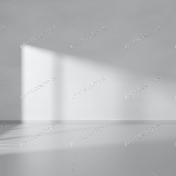 Empty gray minimalistic room interior. 3D rendering.