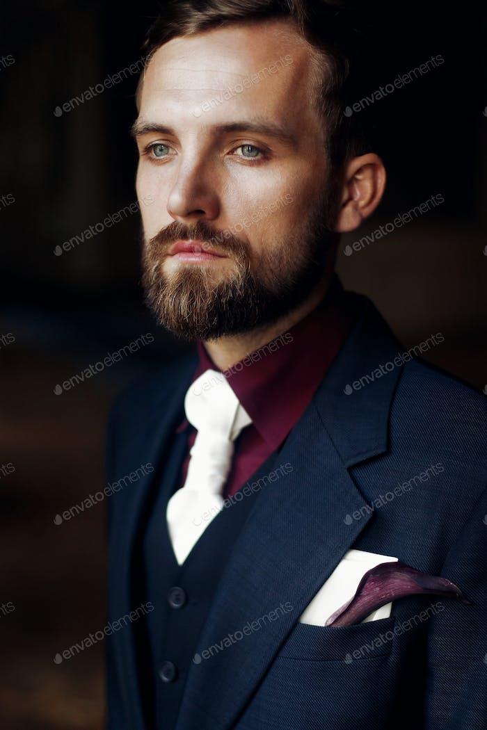 Elegant stylish handsome groom portrait