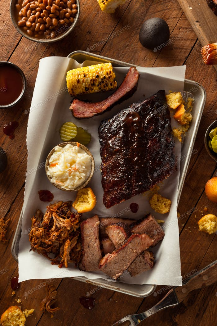 Barbecue Smoked Brisket and Ribs Platter