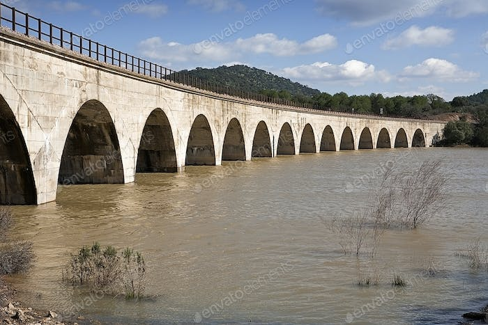 Railway line Cordoba - Almorchon, bridge of Los Puerros, municipality of Espiel