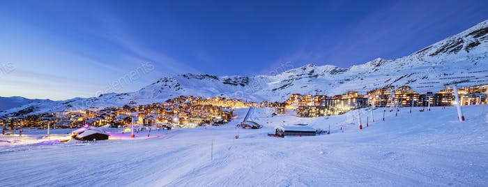 Panorama of Val Thorens by night