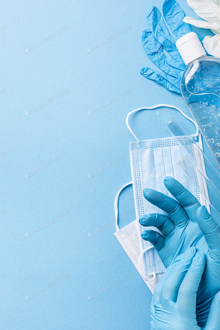 Medical gloves mask and alcohal gel for protecting infection during Coronavirus pandemic
