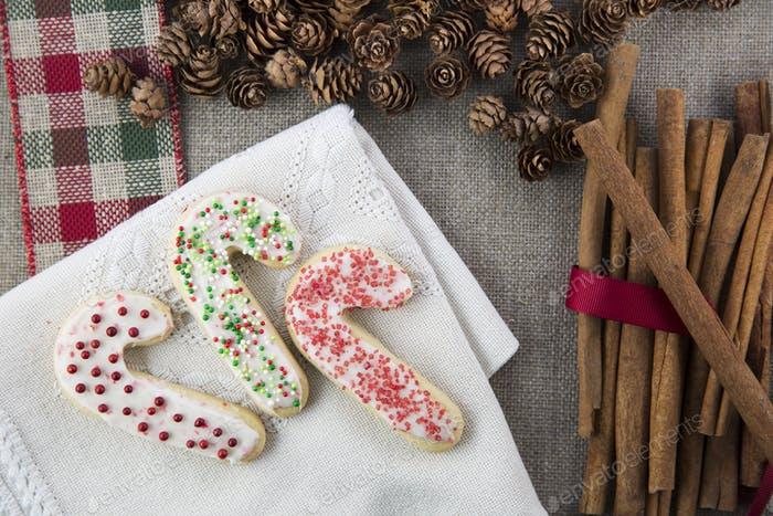 Three Festive Sugar Cookies.