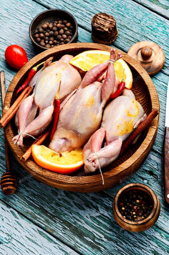 Raw meat quails