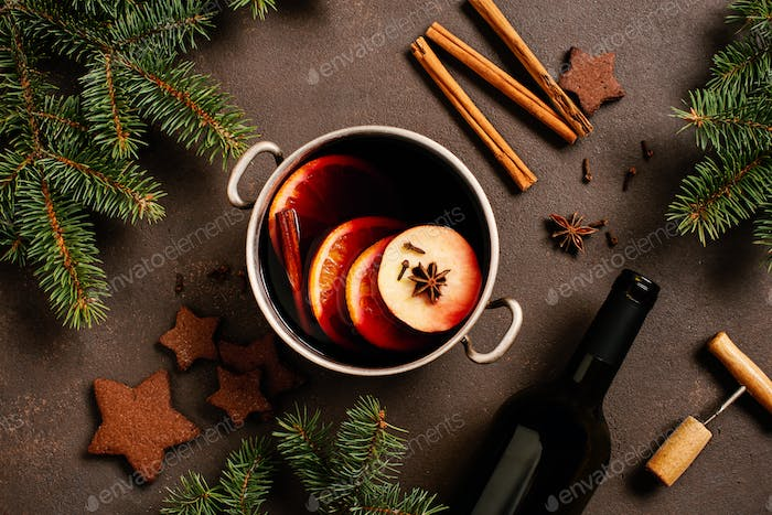 Homemade Mulled Wine and Fir Branches
