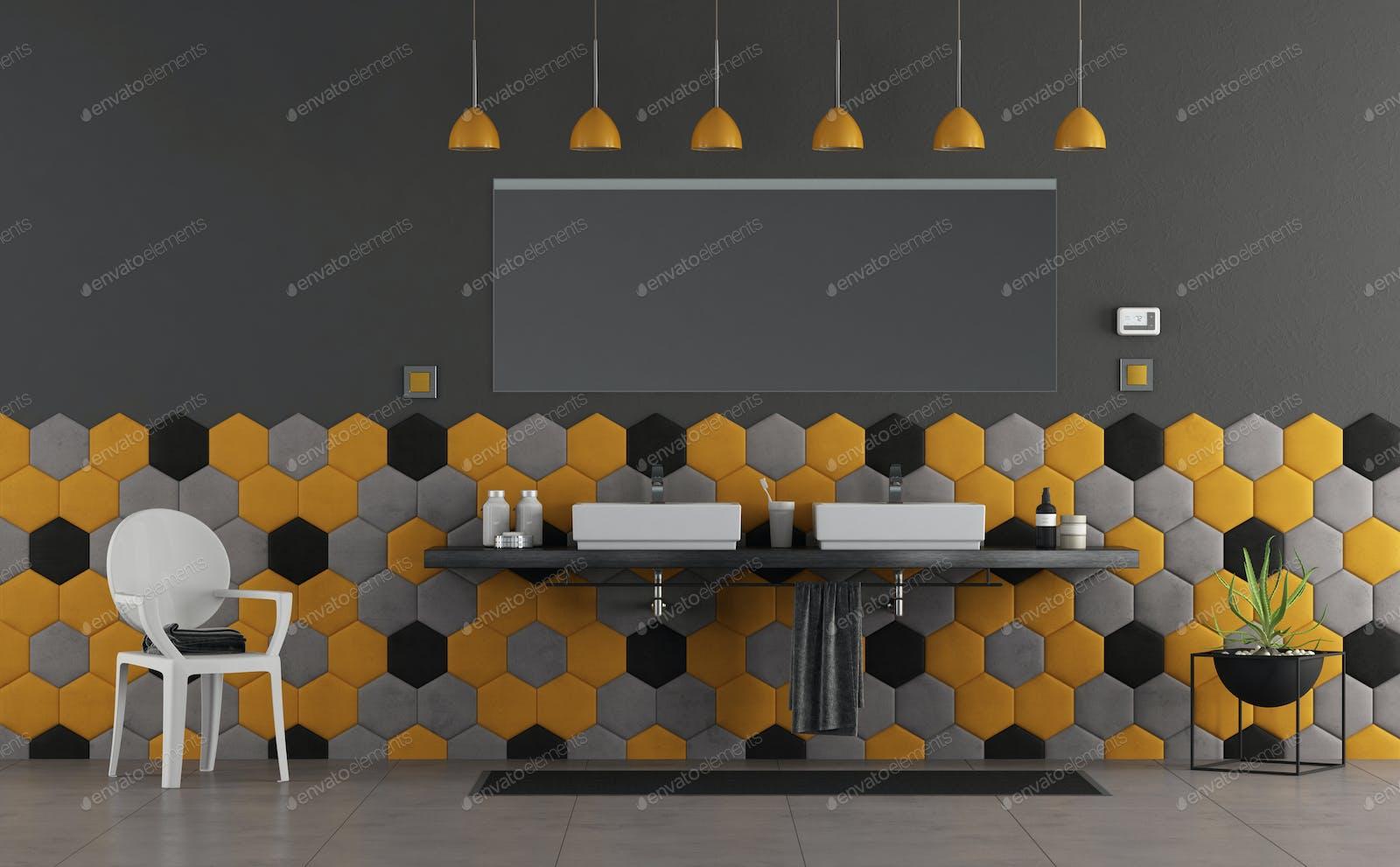 Yellow Chair In Grey Wall Interior Foto Von Bialasiewicz Auf Envato