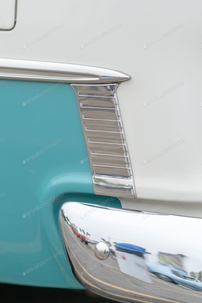 Close up of vintage car side details