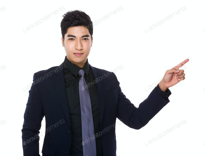 Hombre de negocios con el dedo hacia arriba