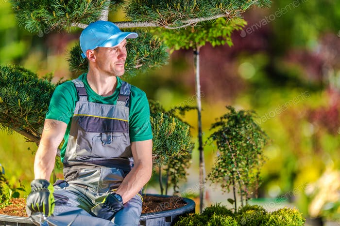 Gardener Relaxing Under Tree
