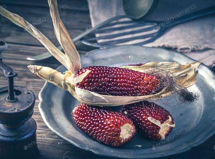 Rote Maiskolben auf Teller