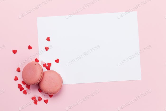 Greeting card with heart shaped sweets holiday template