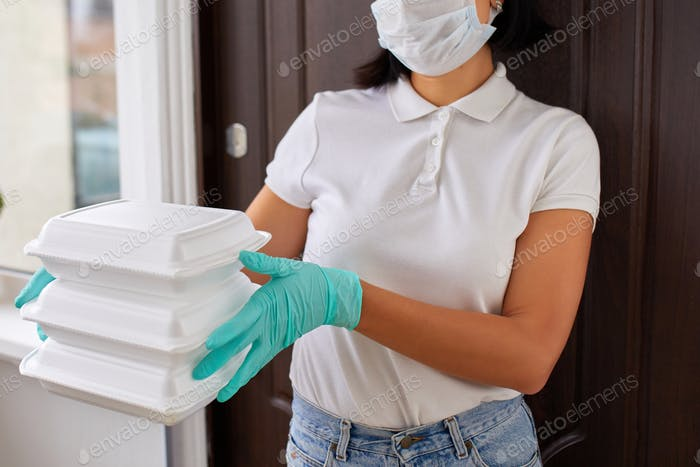 Courier woman hold go box food, delivery service,