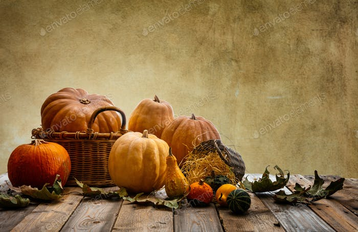 Thanksgiving concept with colorful pumpkins and fall leaves on rustic wooden table, copy space