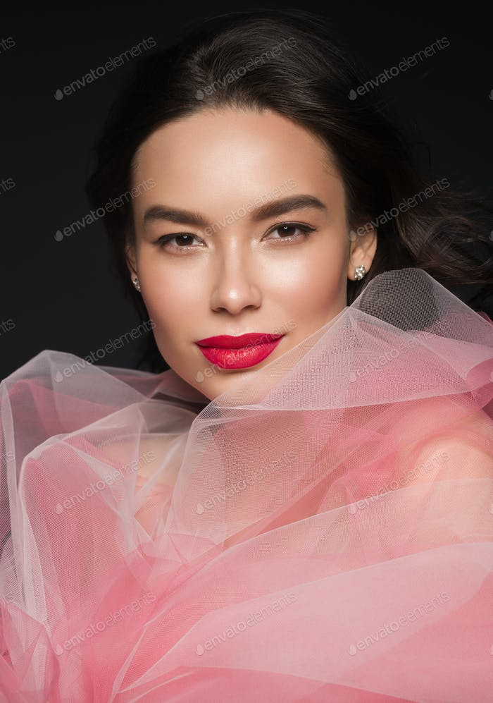 Kunst Schönheit weibliche Porträt rot Lippenstift Kleid Frau schöne asiatische