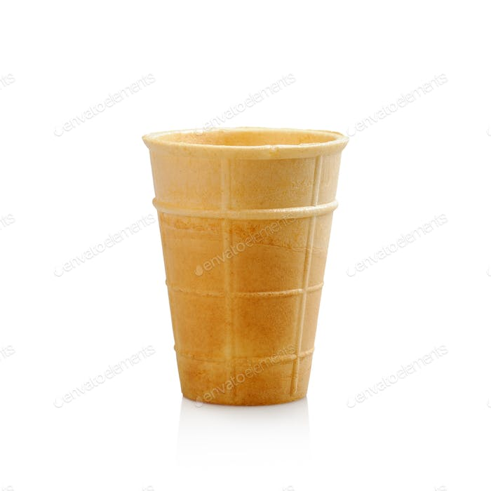 Wafer cup for ice cream on white