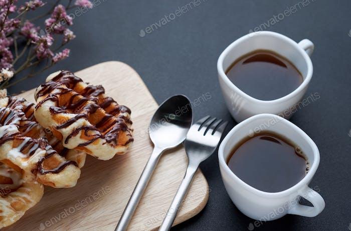 Black coffee with waffle