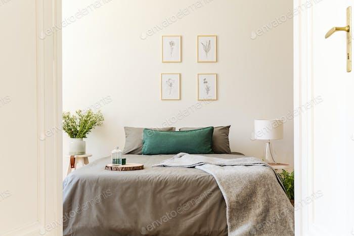 A peek through an open door into a natural sunny bedroom interio