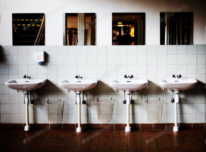 Sinks at public restroom