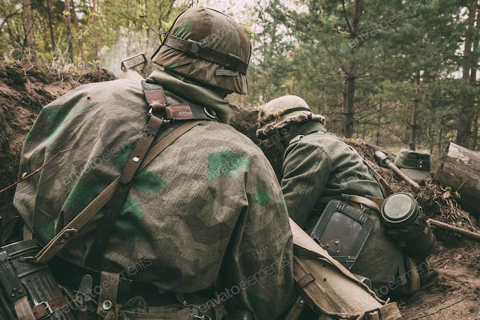 Re-enactors Dressed As German Wehrmacht Infantry Soldiers In Wor