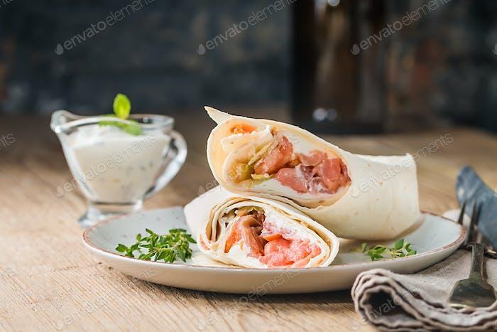 fresh tortilla wrap with salmon