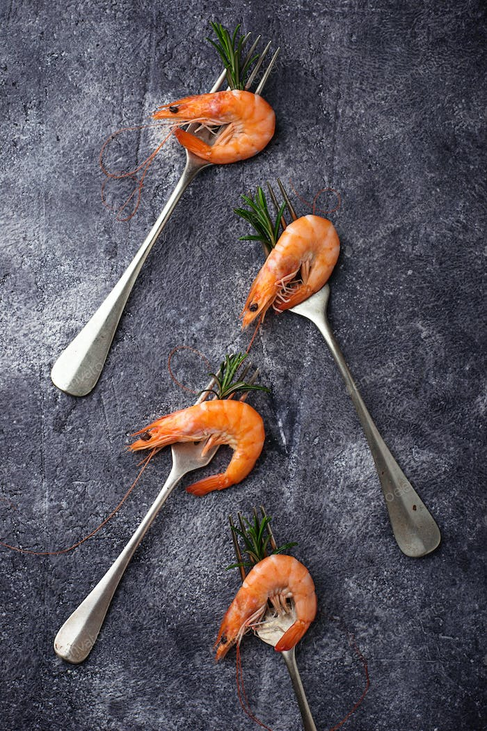 Prawns shrimps on the fork