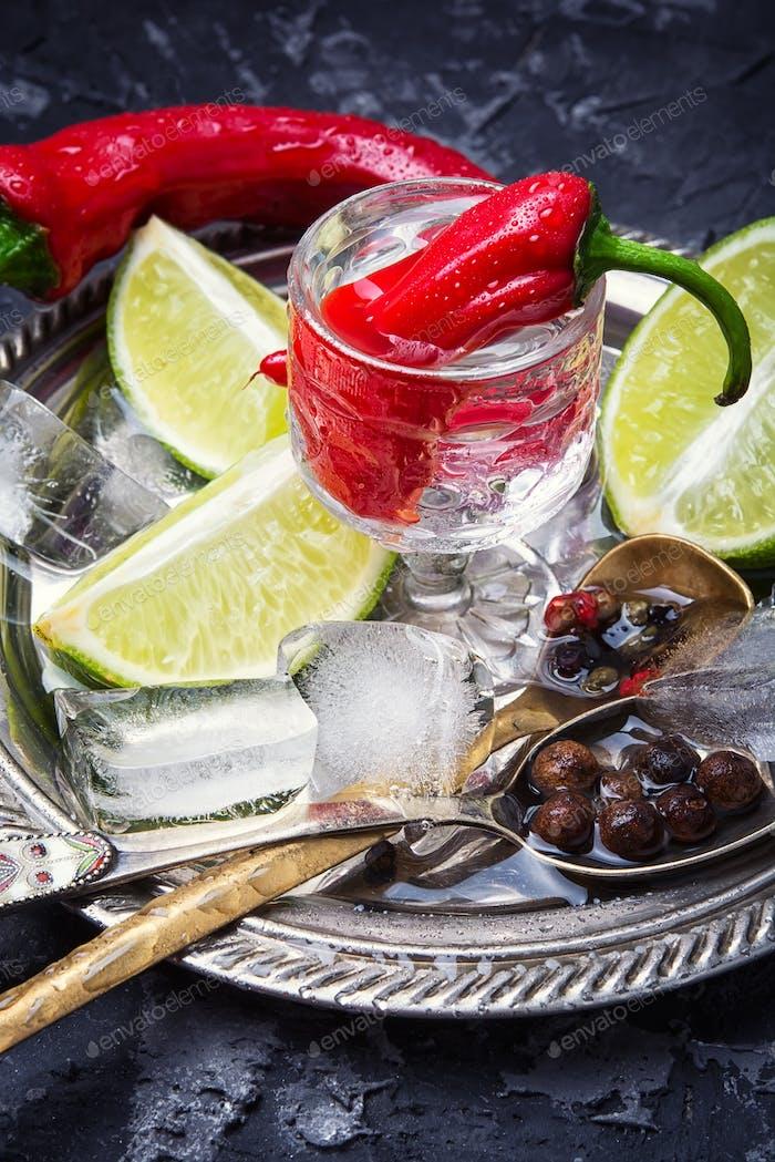 Heiße Chilischote mit einem Glas Wodka