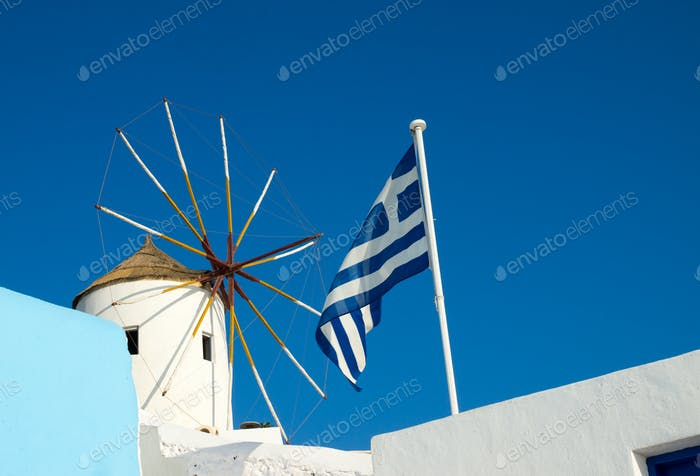 Windmill and flag