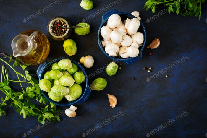 Dietary menu. Ingredients: Vegetables - Brussels sprouts, mushrooms, leeks and herbs