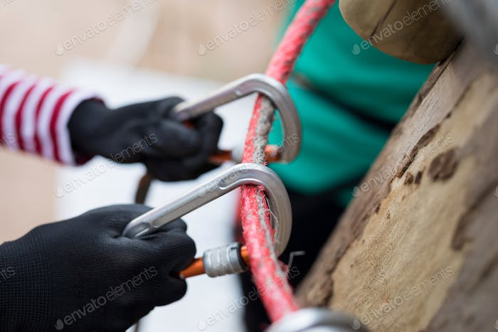 Carabiner attached to the ropes