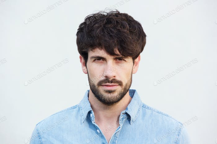 Close up handsome  male fashion model face with beard