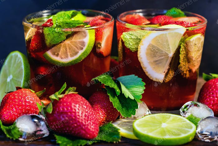 Homemade lemonade with strawberries and mint
