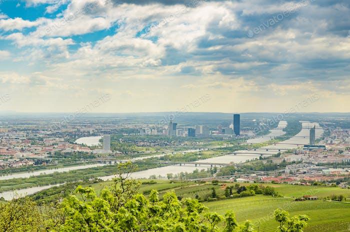 Blick vom Kahlenberg auf das Wiener Stadtbild. Tourist Spot