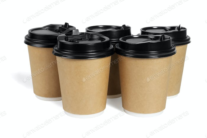Five Paper Coffee Cups