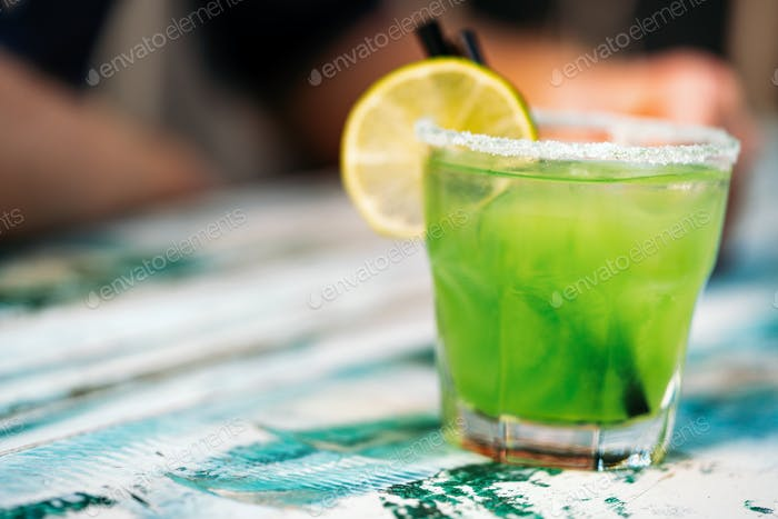 Fresh lime mojito or lemonade with mint