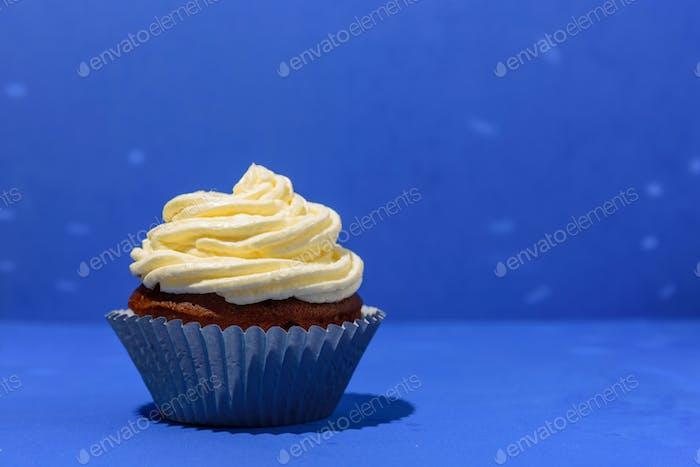 Cupcake on blue background