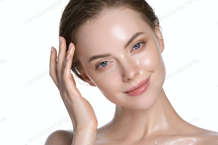 Modern girl healthy hydration clean skin face beautiful model neck shoulders. Isolated white.