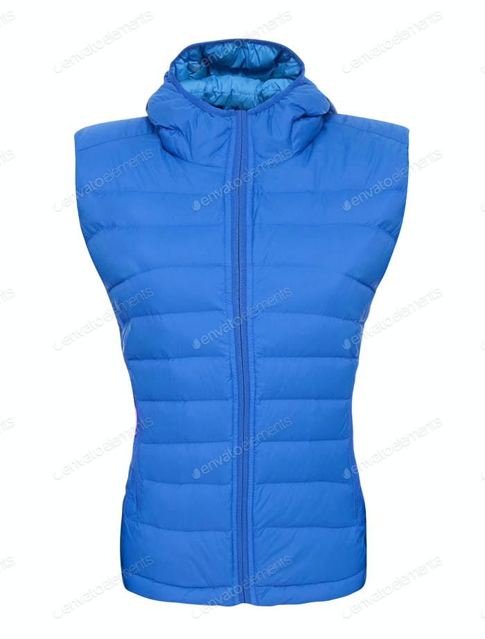 Blue sports zipped vest isolated over white
