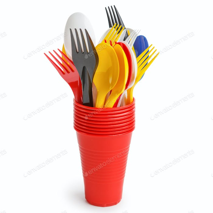 Plastic cutlery in cups