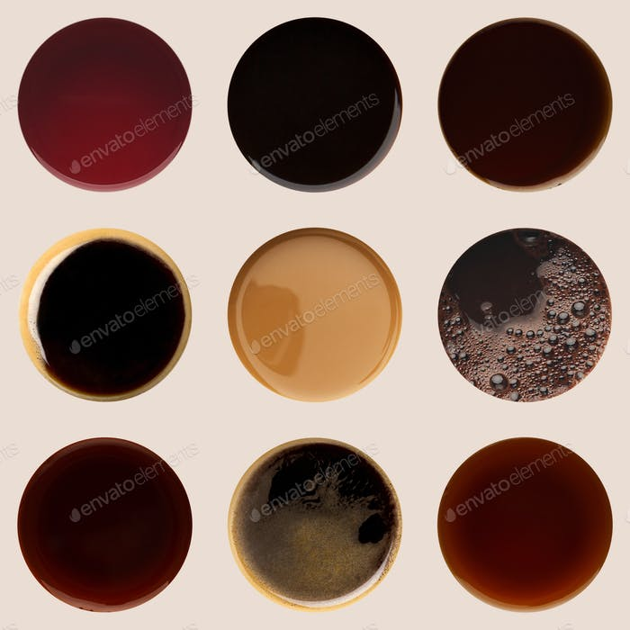 Collection of coffee cups tops isolated on white