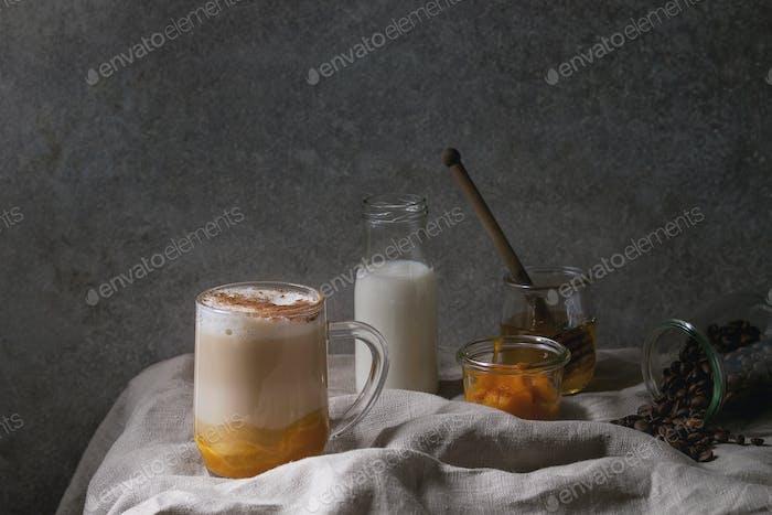 Glass of pumpkin spice latte