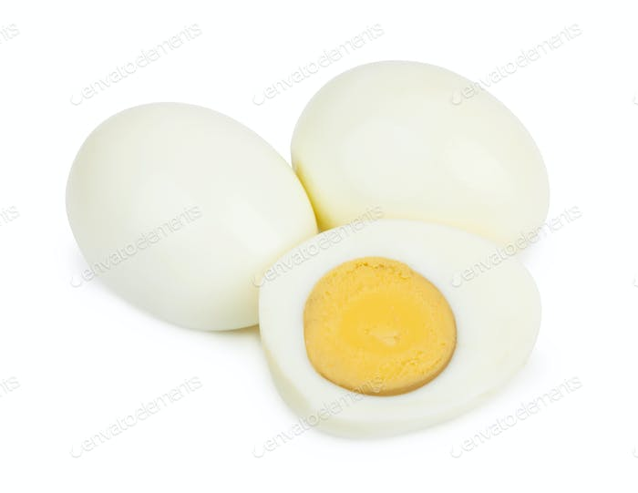 boiled egg on white