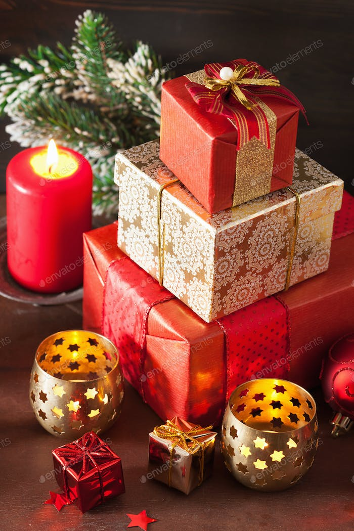 christmas gift box and decoration light
