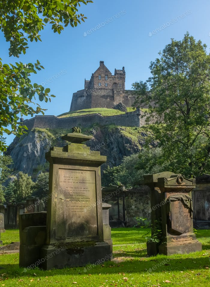 Edinburgh Castle And Ancient Cemetery