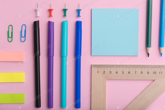 Top view image of a lot of office supplies